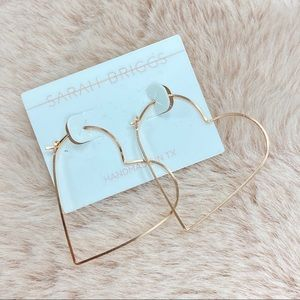 Sarah Briggs Jewelry Amore Rose Gold Heart Hoops